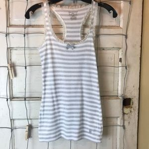 Juicy Couture Silver White Stripe Racer Back Tank